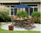 Rimini Teak Folding Garden Table and 4 Arm Chairs