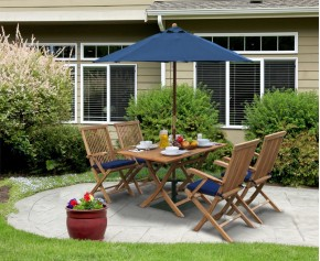 Rimini Teak Folding Garden Table and 4 Arm Chairs - Folding Chairs