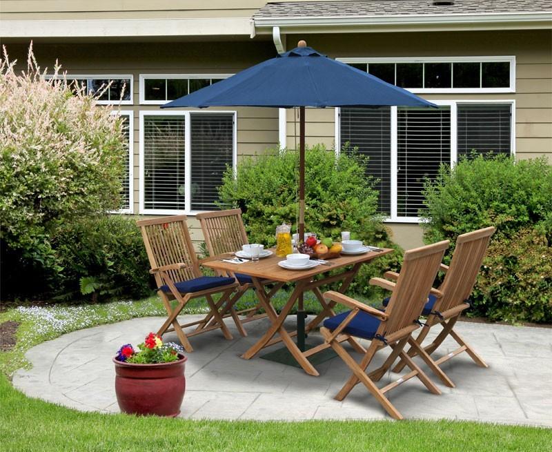 Rimini Teak Folding Garden Table and 4 Arm Chairs