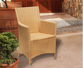 Riviera All Weather Wicker Rattan Armchair - Flat Weave - Dining Chairs