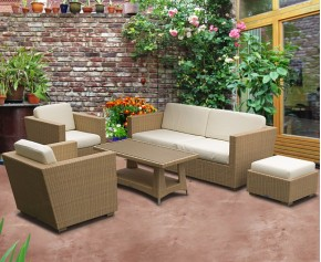 Riviera Wicker Sofa Set with Riviera Coffee Table - Patio Chairs