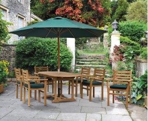 Yale 6 Seat Teak Dining Set - Stacking Chairs