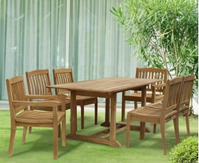 Hilgrove 6 Seater Garden Rectangular Dining Table and Chairs Set - Stacking Chairs