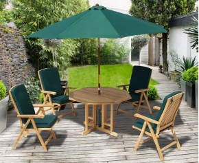 Berrington 4 Seater Octagonal Gateleg Table and 4 Reclining Chairs - Patio Chairs