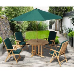Berrington 4 Seater Octagonal Gateleg Table and 4 Reclining Chairs