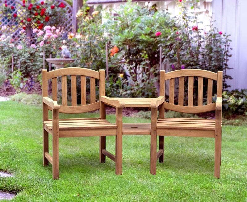 Ascot Teak Garden Companion Seat Bench Garden Tete A