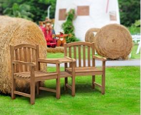 Clivedon Teak Garden Companion Seat - Wooden Garden Love Seat - Companion Seats
