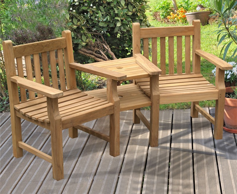 Taverners garden teak companion seat jack and jill seat for Garden love seat uk