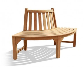 Teak Quarter Tree Seat Bench - 3 Seater Garden Benches