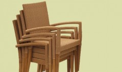 Teak and Rattan Garden Chairs