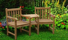 Teak companion seats garden love chairs wooden love for Garden love seat uk