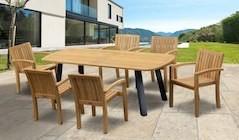 Teak and Metal Outdoor Tables | Metal and Teak Garden Dining Tables