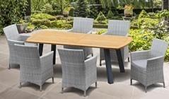 Metal and Teak Garden Dining Sets | Teak & Steel Outdoor Dining Sets