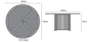 Aero Teak Round Contemporary Outdoor Table - 150cm