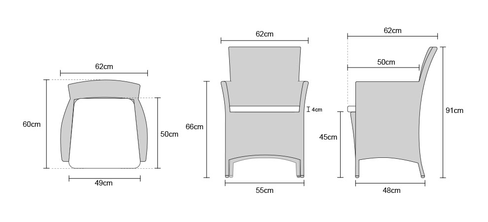 Riviera Armchairs - Dimensions