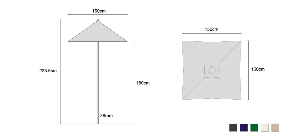 Square Garden 1.5m Parasol - FSC Eucalyptus Hardwood Parasol