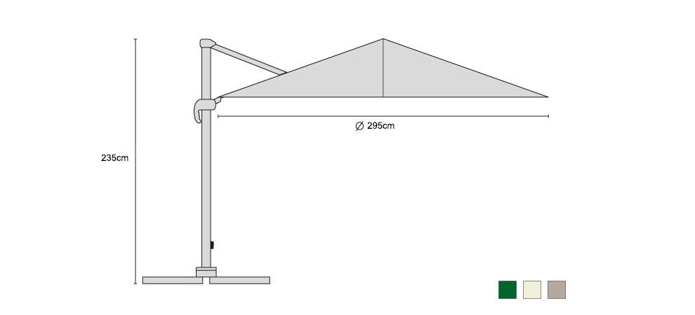 Large Umbra Cantilever Parasol 3m - Dimensions