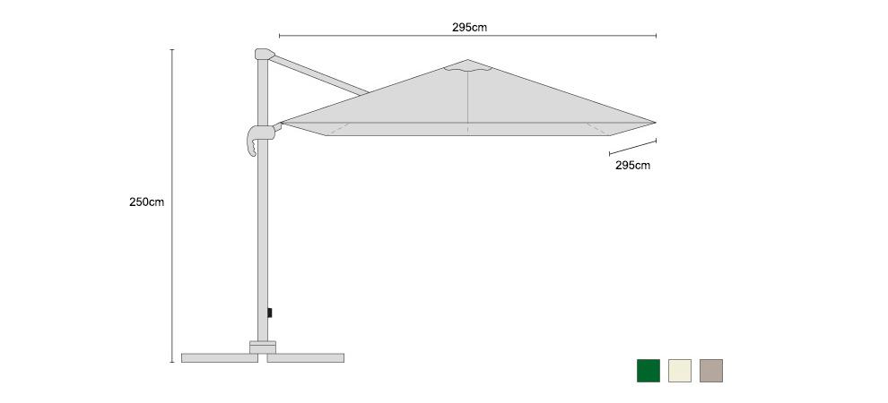 Large Umbra Cantilever Parasol Square 3x3m - Dimensions