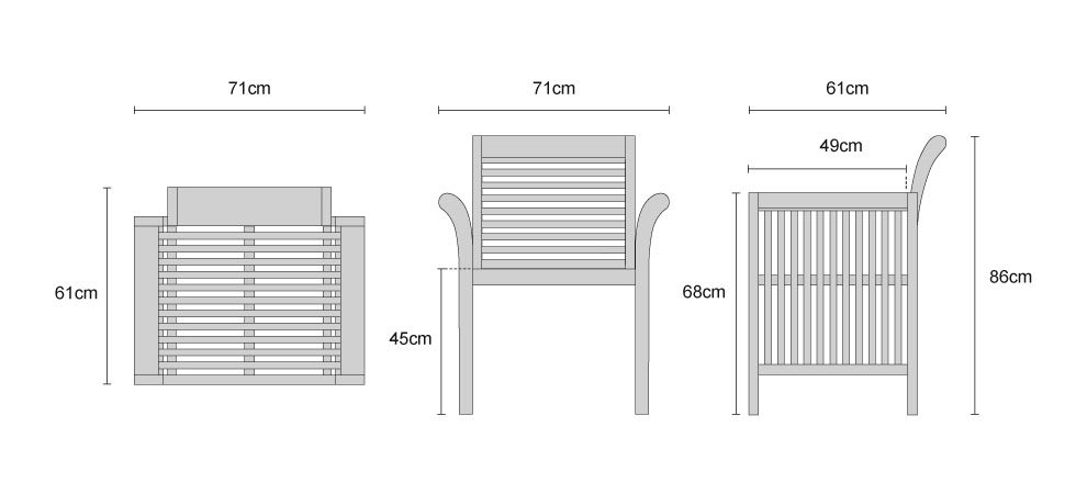 Aero Teak Fixed Armchairs - Dimensions