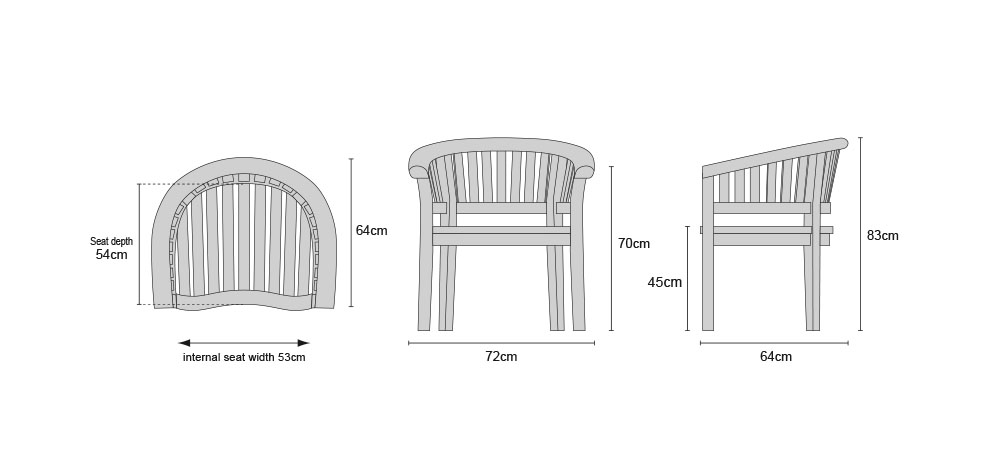 Contemporary Teak Fixed Armchair - DImensions