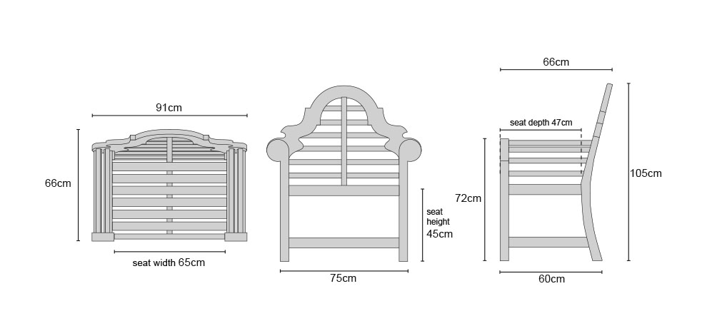 Lutyens Teak Fixed Armchairs - Dimensions