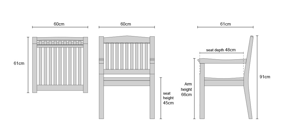 Hilgrove Teak Fixed Armchairs - Dimensions