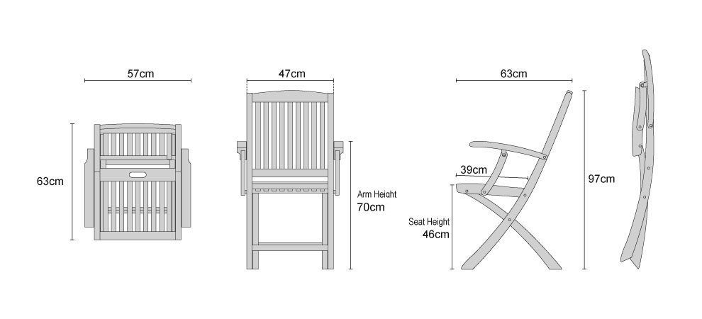 Teak Bali Folding Armchairs - Dimensions