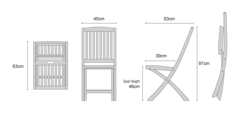 Bali Teak Folding Dining Chairs - Dimensions