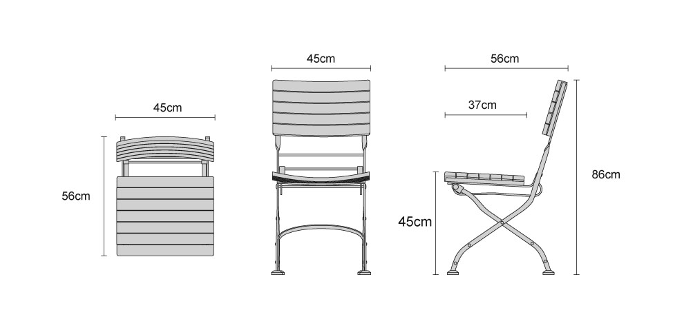 Bistro Folding Dining Chairs - Dimensions
