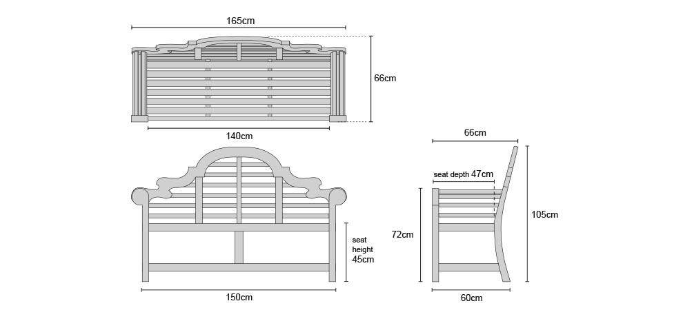 Teak Lutyens Bench 1.65m - Dimensions