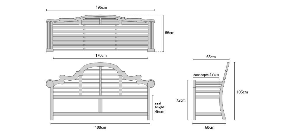 Lutyens Garden Bench 1.95m - Dimensions
