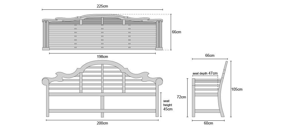 Extra Large Lutyens Teak Bench 225