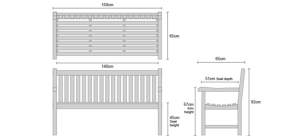 Windsor Benches 1.5m - Dimensions