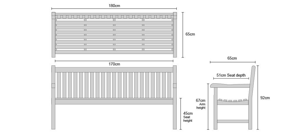 Windsor Bench 1.8m - Dimensions