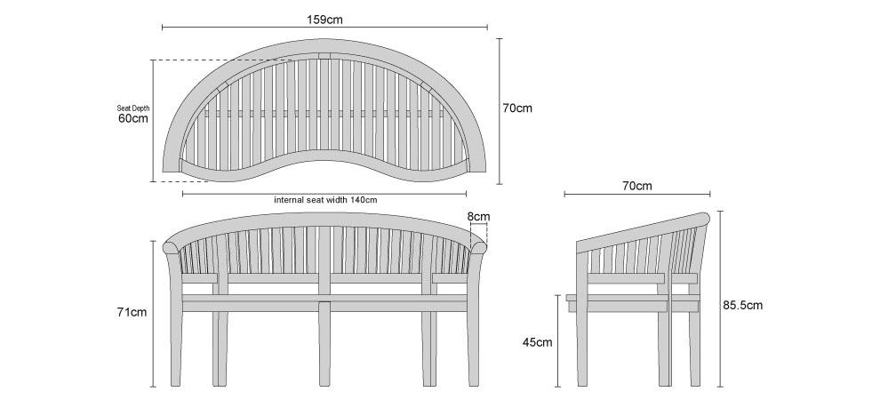 Teak Banana Garden Bench - Dimensions