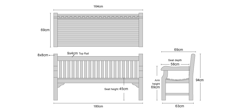 Balmoral Queens Jubilee Bench - Dimensions