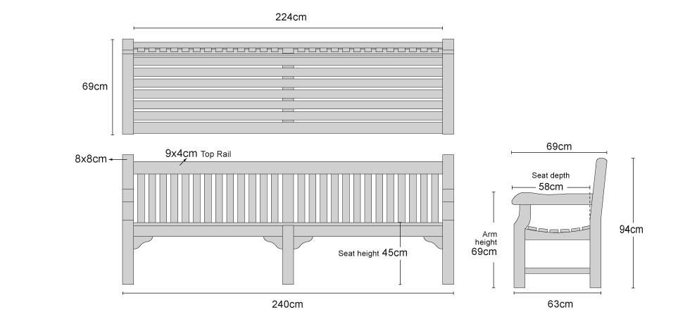 Balmoral Park Bench 8ft Teak Street Bench 240