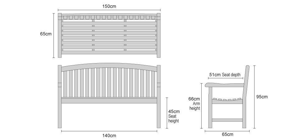 Clivedon Teak 3 Seater Garden Bench - Dimensions