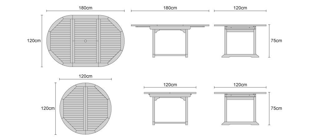 Brompton Teak Extending Single-Leaf Table - Dimensions