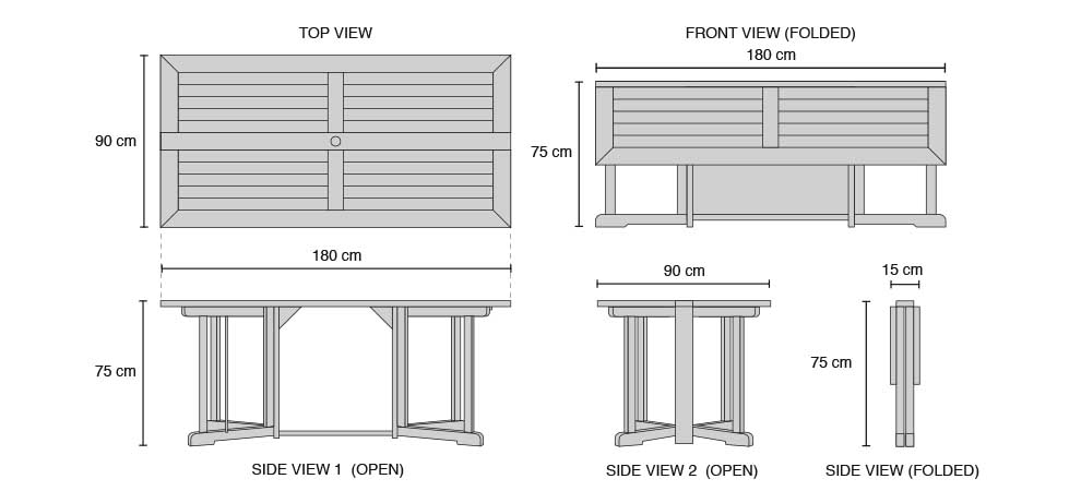 Shelly Rectangular Gateleg Table - Dimensions