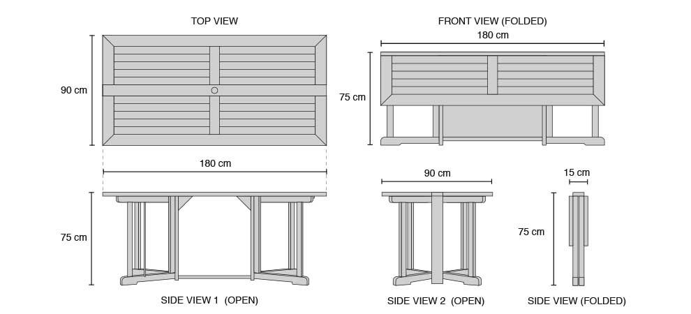 Shelley Teak 6ft Garden Rectangular Folding Gateleg Table - Dimensions