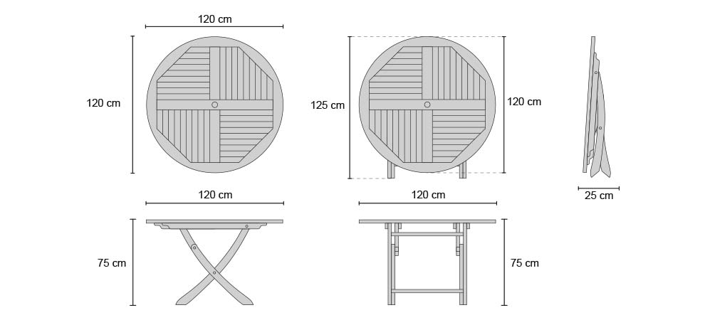 Suffolk Round Folding Table 1.2m - Dimensions