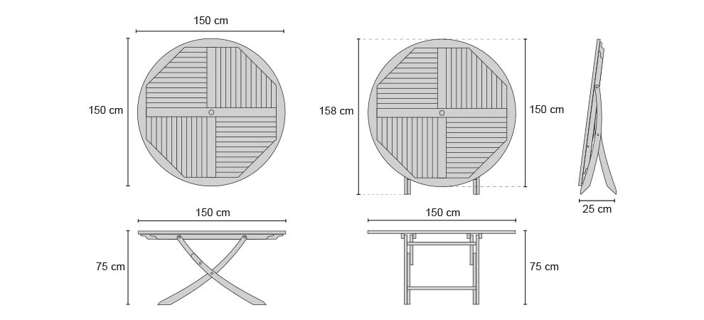 Suffolk Round Table 1.5m - Dimensions