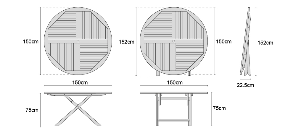 Suffolk Teak Outdoor Folding Round Dining Table - 150cm