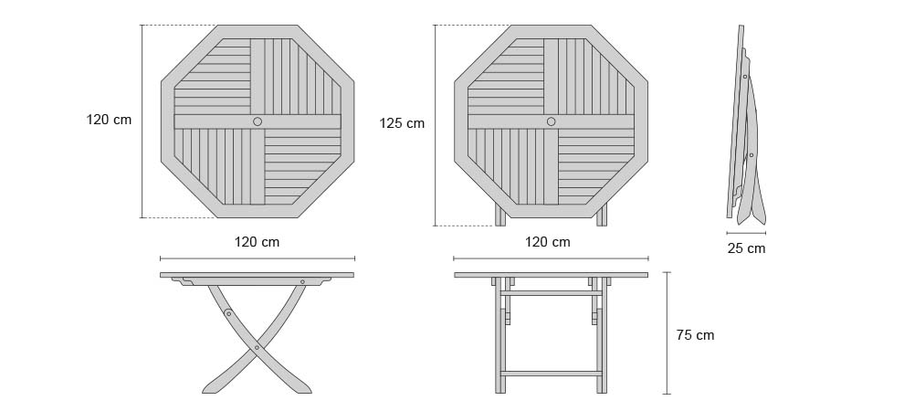Suffolk Teak Octagonal Folding Table - Dimensions