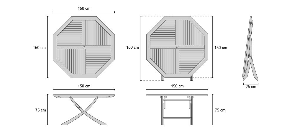 Suffolk Octagonal Table 1.5m - Dimensions