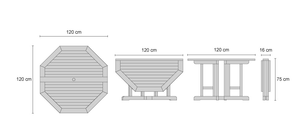 Dorchester Teak Extending Double-Leaf Table - Dimensions