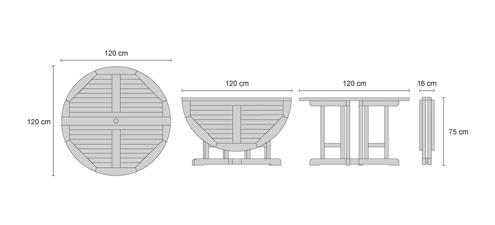 Berrington Teak Folding Round Gateleg Table - DImensions