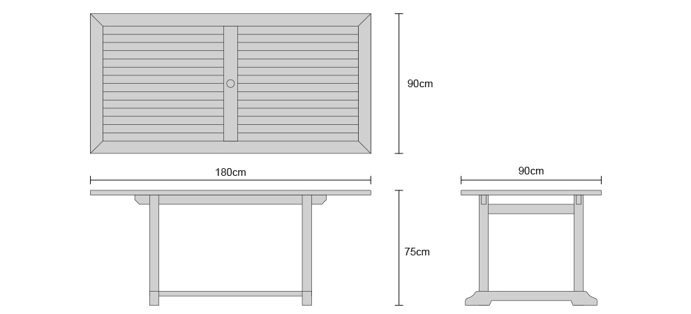 Hilgrove Teak Fixed Rectangular Table - Dimensions