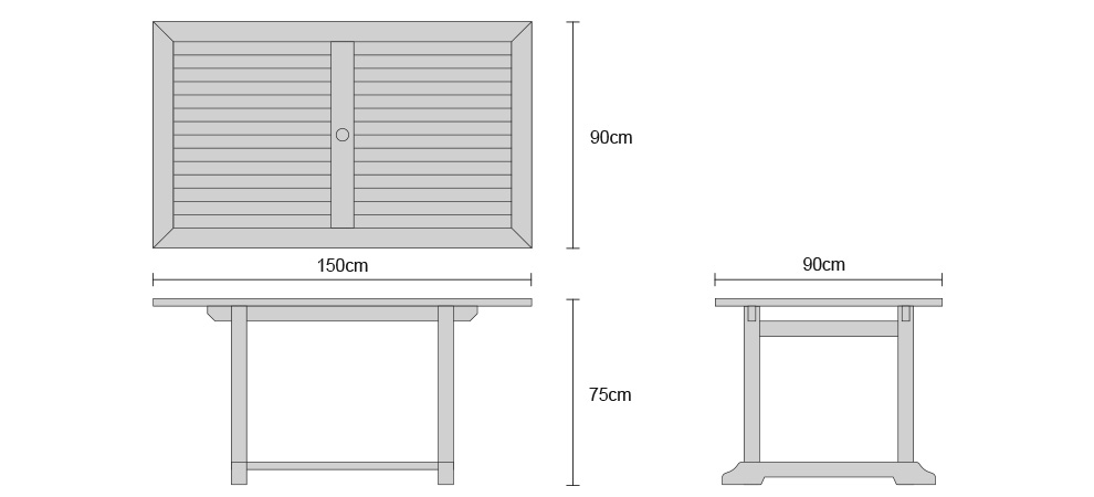 Hilgrove Fixed Table 150cm - Dimensions